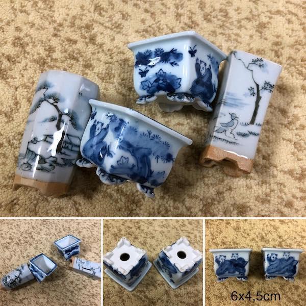 Cặp chậu mini Nhật hoạ tiết tiểu đồng PLD425