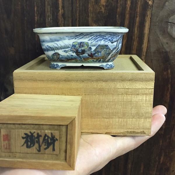 Chậu bonsai mini vẽ tay PLD810