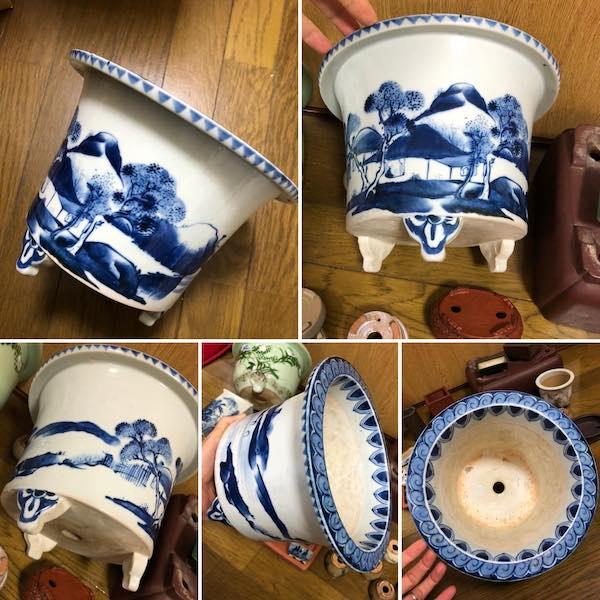 Chậu bonsai men xanh cổ PLD732