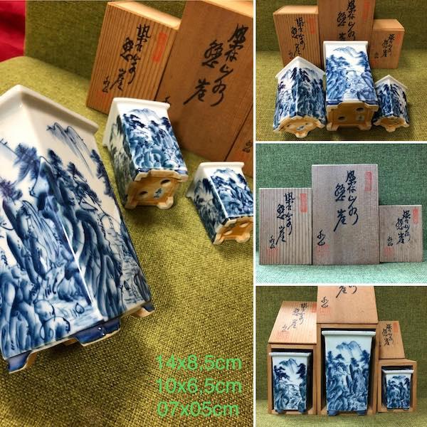 Bộ ba chậu sơn thuỷ kèm hộp gỗ PLD698