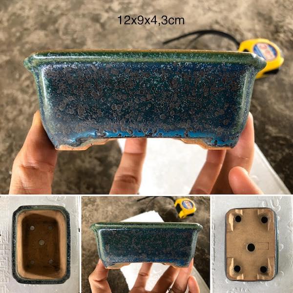 Chậu bonsai mini chữ nhật men xanh hoả biến PLD686