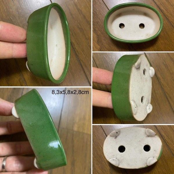 Chậu oval men xanh lá cây PLD163