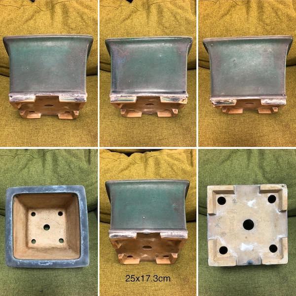 Chậu vuông men xanh PLD925